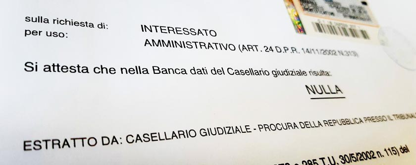 How to get a police criminal record certificate Italy